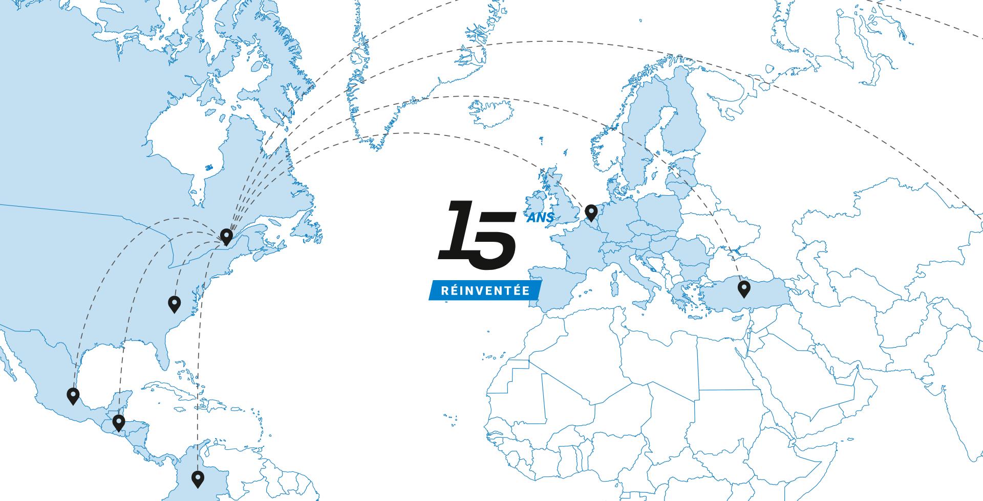 Map du monde avec logo FilSpec 15e