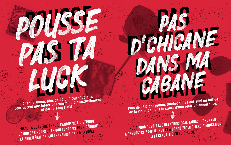 L'Anonyme - Affiches « Pousse pas ta luck » et « Pas d'chicane dans ma cabane »