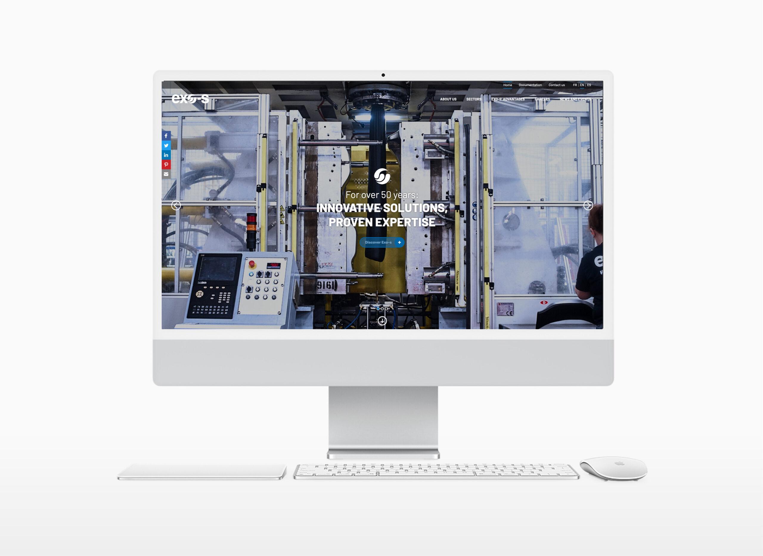 Exo-s mockup desktop website